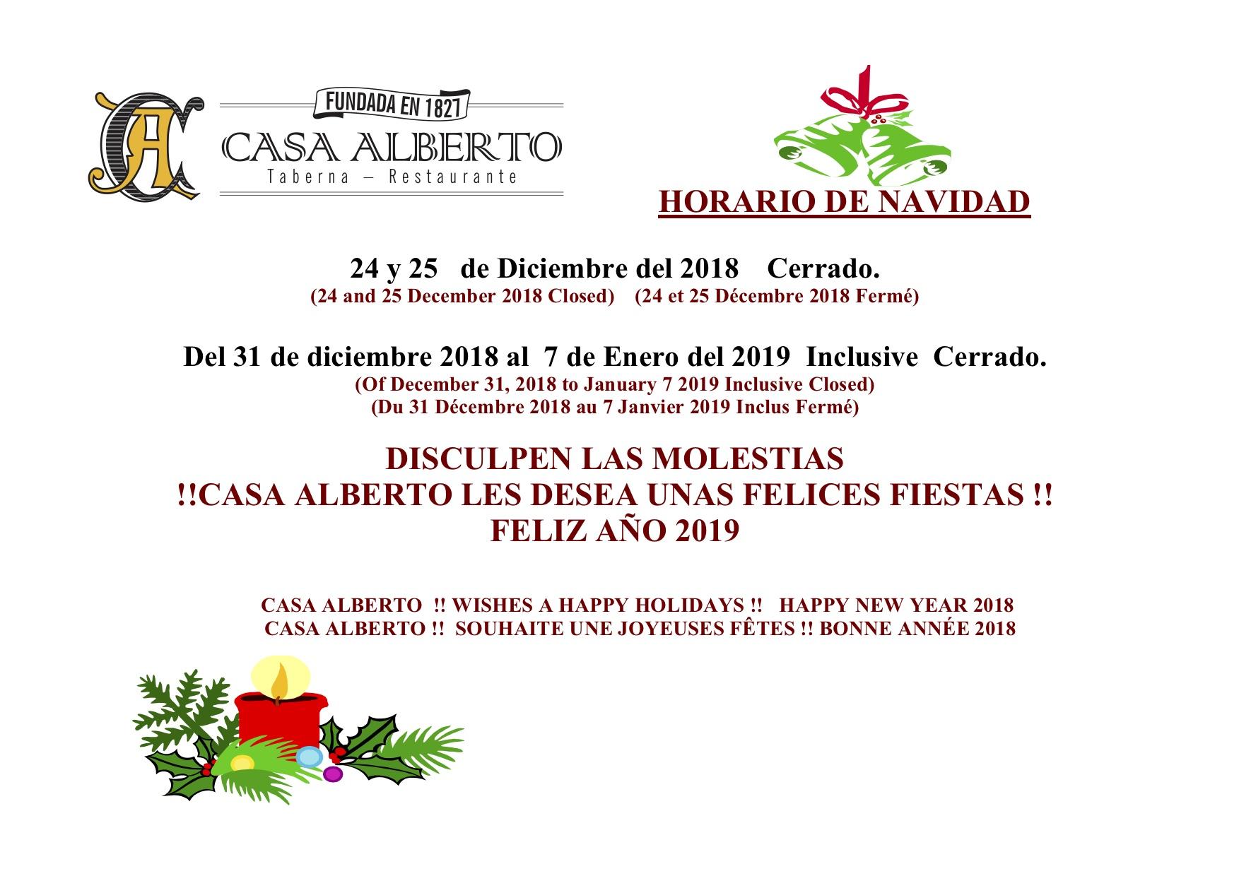 HORARIO DE NAVIDAD 2018