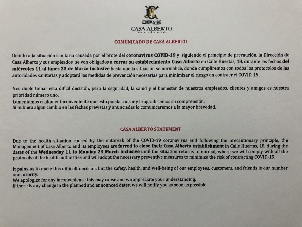 Cerramos debido al coronavirus COVID-19