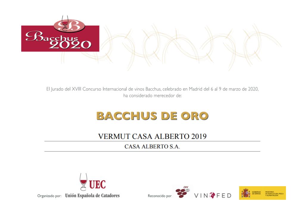 Vermut Casa Alberto, premio Bacchus de oro 2020